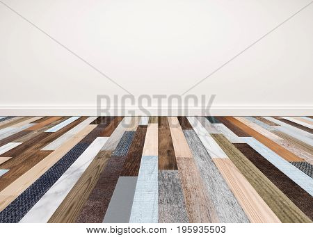 Wood floor with white wall, interior empty space for backgrounds