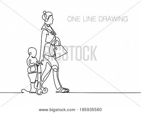 trendy continuous line black and white drawing in minimalistic style, the boy is riding a scooter, his mother is walking beside him and holding his hand, lineart vector illustration