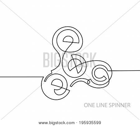 trendy continuous line black and white drawing in minimalistic style, fidget finger hand spinner antistress toy, lineart vector illustration