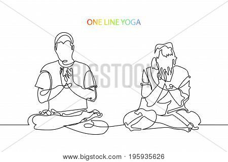 trendy continuous line black and white drawing in minimalistic style, man and woman meditate in lotus position, lineart vector illustration