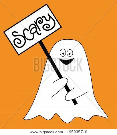 Happy Halloween Holiday Ghost with Scary Sign
