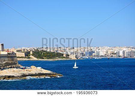 View towards Sliema seen from Valletta Valletta Malta Europe.