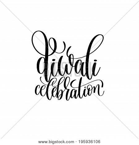 diwali celebration black calligraphy hand lettering text isolated on white background for indian diwali fire light holiday design template, greeting card vector illustration