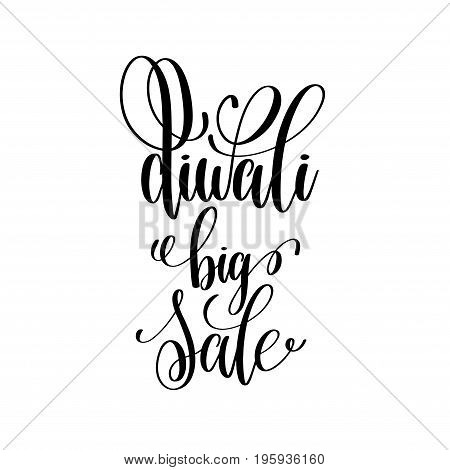 diwali big sale black calligraphy hand lettering text isolated on white background for indian deepawali fire light holiday design template, greeting card vector illustration