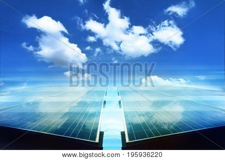 solar panel with reflect white cloud and blue sky