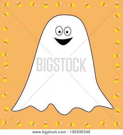 Happy Halloween Holiday Candy Corn Ghost Smiling