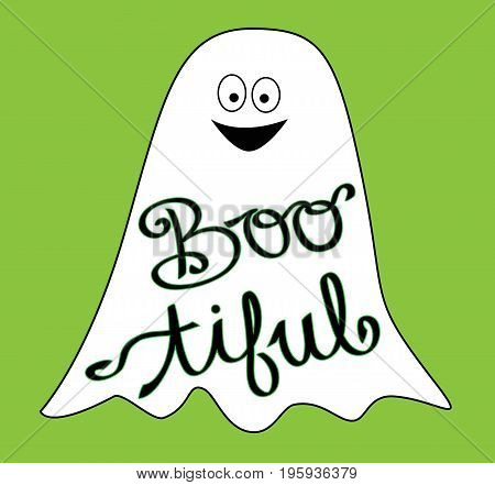 Happy Halloween Holiday Boo tiful Ghost Smiling