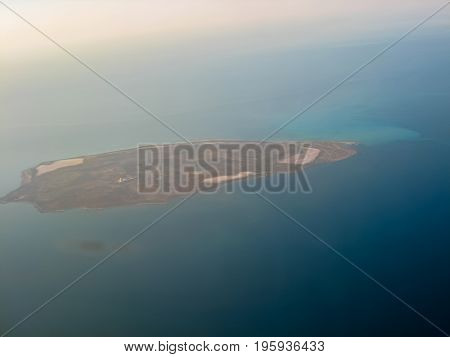 Uninhabited sandy island in the Persian Gulf off the coast of Dubai UAE