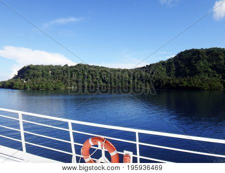 Scene Of The Crater Of Garove Island From A Cruise Ship, Papua New Guinea.