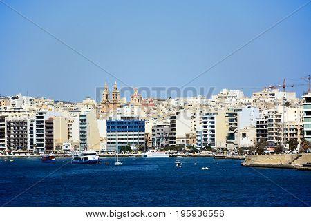 VALLETTA, MALTA - MARCH 30, 2017 - View towards Sliema seen from Valletta Valletta Malta Europe, March 30, 2017.