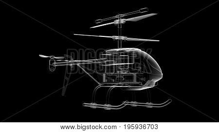 3D Illustration of toy helicopter in different angles