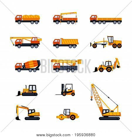 Construction Vehicles - modern vector flat design icon set. Dump, fuel, flat bed, pickup truck, cement mixer, crane, loader, excavator, backhoe, bulldozer, crane, paving machine, road grader, forklift