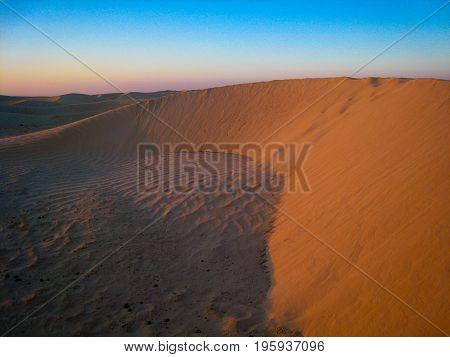 Sandy desert landscape of Rub al Khali in the UAE Dubai