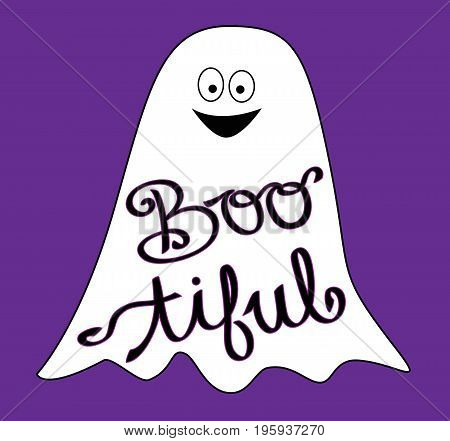 Boo tiful Happy Halloween Holiday Ghost Smiling