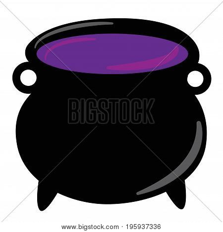 Happy Halloween Witch Cauldron with Purple Potion