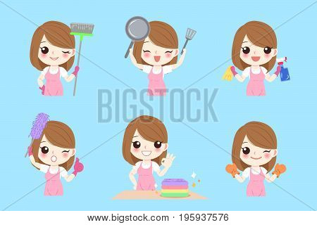 cute cartoon housewife on the blue background