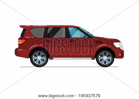Family suv car icon. Comfortable auto vehicle, side view people city transport isolated vector illustration on white background.