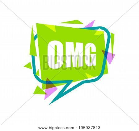 Omg speech bubble with expression text. Most commonly used replica label isolated on white background vector illustration.