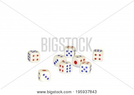 eight gambling white dice isolated on white