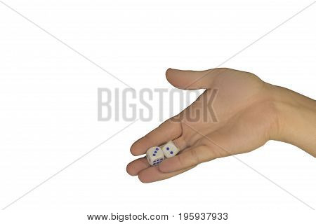Man's Hand Holds In The Palm Of Two Dice Isolated On White Background