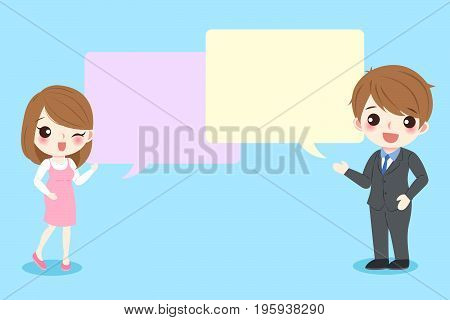 couple with speech bubble on the blue background