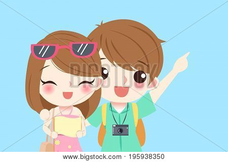 young couple go to travel and smile happily on the blue background