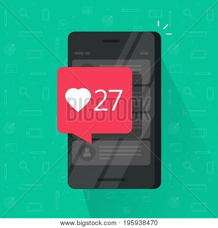 Smartphone with likes counter bubble vector illustration isolated, flat carton mobile phone with social media like button notification, idea of cellphone followers, getting positive review, comment