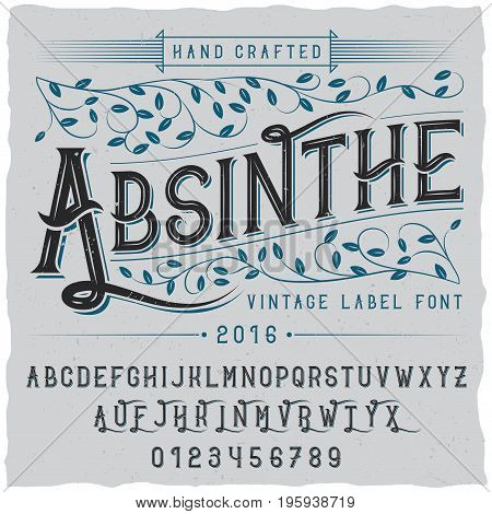 Alcohol hand crafted poster with word absinthe and alphabet vector illustration