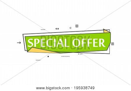 Retail speech bubble with Special offer phrase. Most commonly used replica label, market promotion, marketing sticker isolated vector illustration.