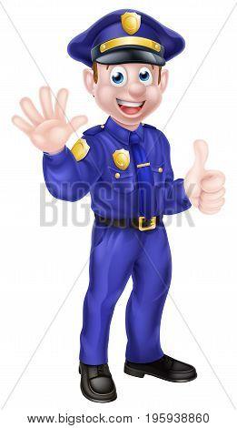 An illustration of a cute cartoon policeman character mascot