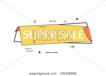 Retail speech bubble with Super sale phrase. Most commonly used replica label, market promotion, marketing sticker isolated vector illustration.