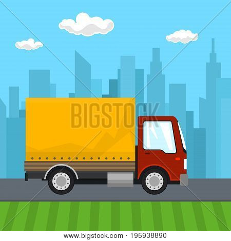 Transportation and Cargo Services, Red Orange Cargo Delivery Truck on the Background of the City, Shipping and Freight of Goods, Vector Illustration