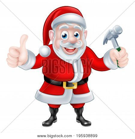 Christmas cartoon Santa Claus holding hammer and giving a thumbs up
