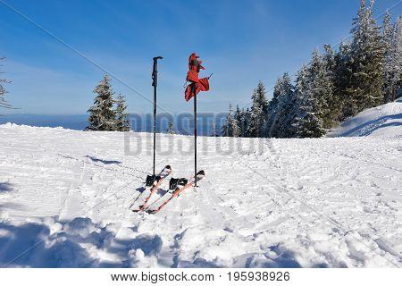 Skis on a ski on mountain in winter season