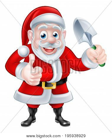 Christmas cartoon Santa Claus giving a thumbs up and holding garden trowel spade
