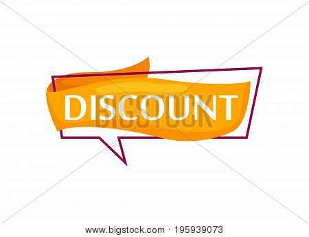 Marketing speech bubble with Discount phrase. Most commonly used replica label, market promotion, retail sticker isolated vector illustration.