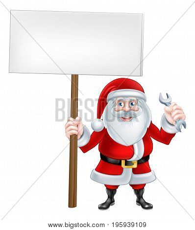 A Christmas cartoon illustration of Santa Claus with sign board and spanner