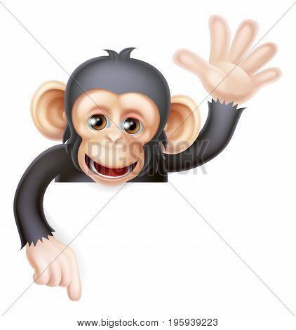 Cartoon chimp monkey like character mascot peeking above a sign waving and pointing down