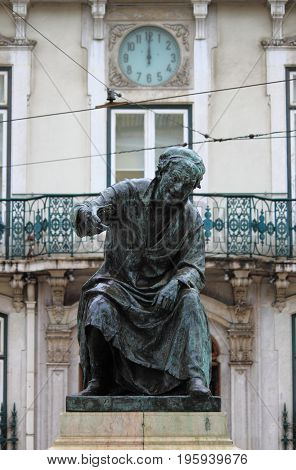 Statue of the poet Antonio Ribeiro in Lisbon, Portugal