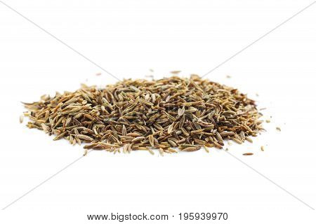 Pile Of Caraway Seeds Isolated On A White