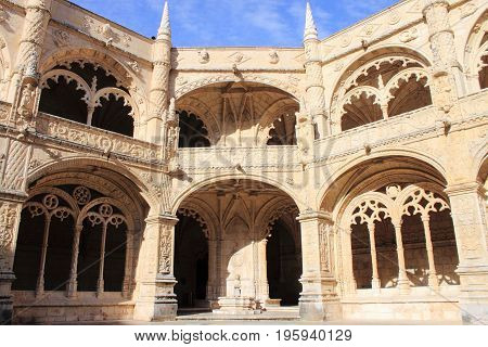 Cloister of the Jeronimos Monastery in Lisbon, Portugal
