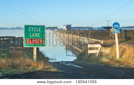 Whirokino cycle lane get closed when the floodway is in use.