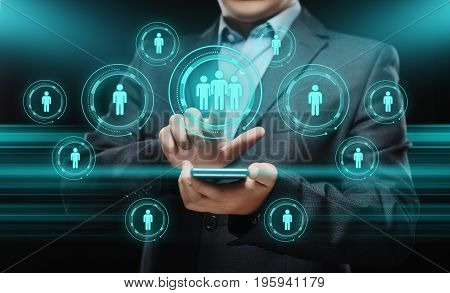 Businessman press button. Human Resources HR management Recruitment Employment Headhunting Concept