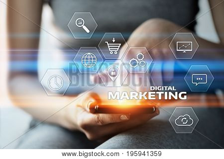 Woman press button. Digital Marketing Content Planning Advertising Strategy concept