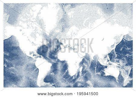 Stippled world ocean relief vector map illustration