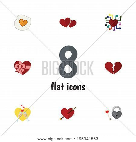 Flat Icon Amour Set Of Divorce, Scrambled, Key And Other Vector Objects