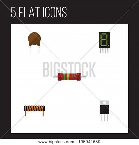 Flat Icon Technology Set Of Receiver, Resistance, Bobbin And Other Vector Objects