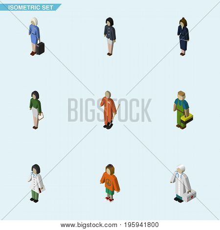 Isometric Human Set Of Cleaner, Girl, Pedagogue And Other Vector Objects
