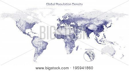 Stippled vector map of global population density