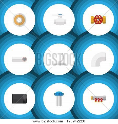 Flat Icon Sanitary Set Of Tube, Water Filter, Conduit And Other Vector Objects